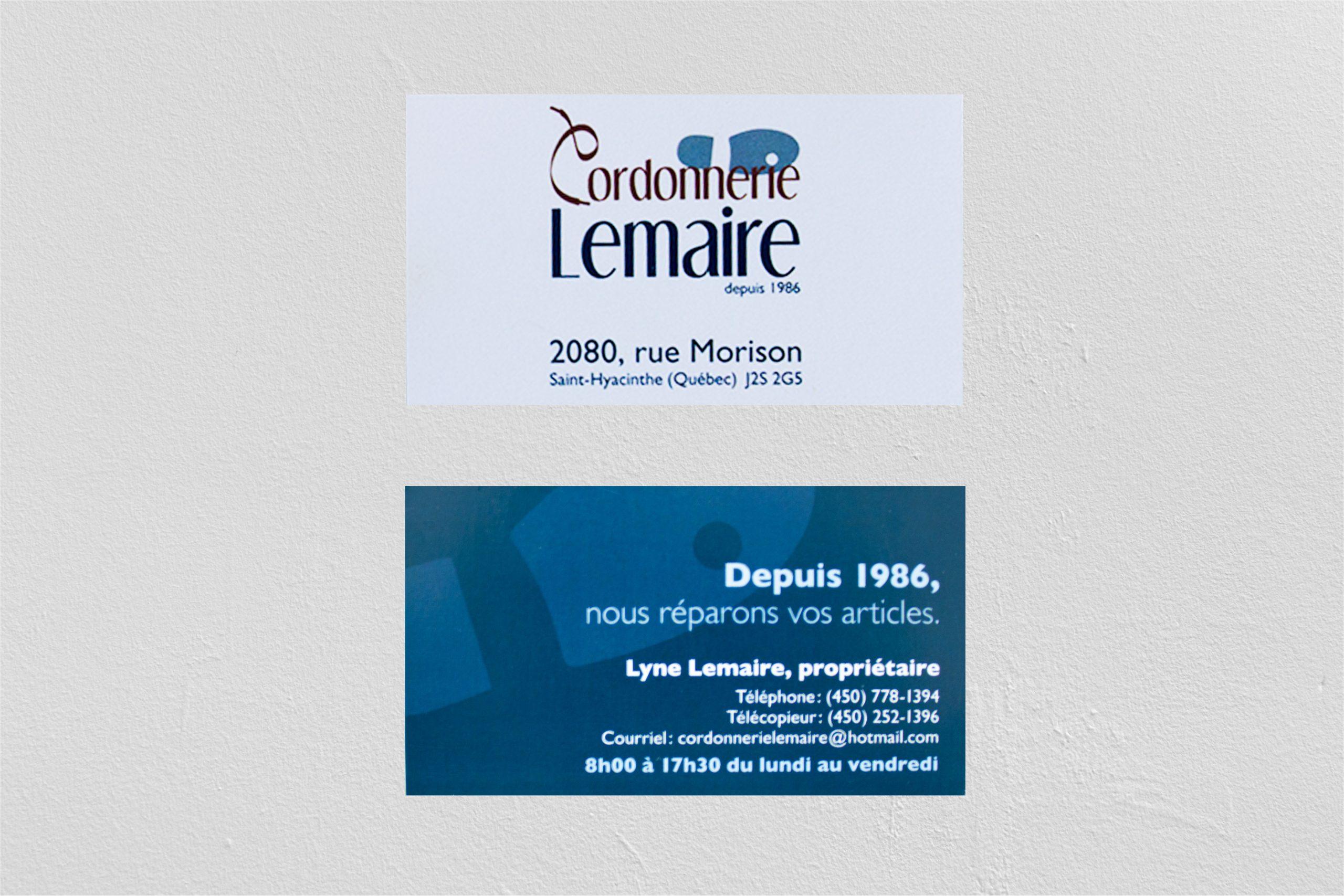 Carte cordonnerie Lemaire (projet fictif)