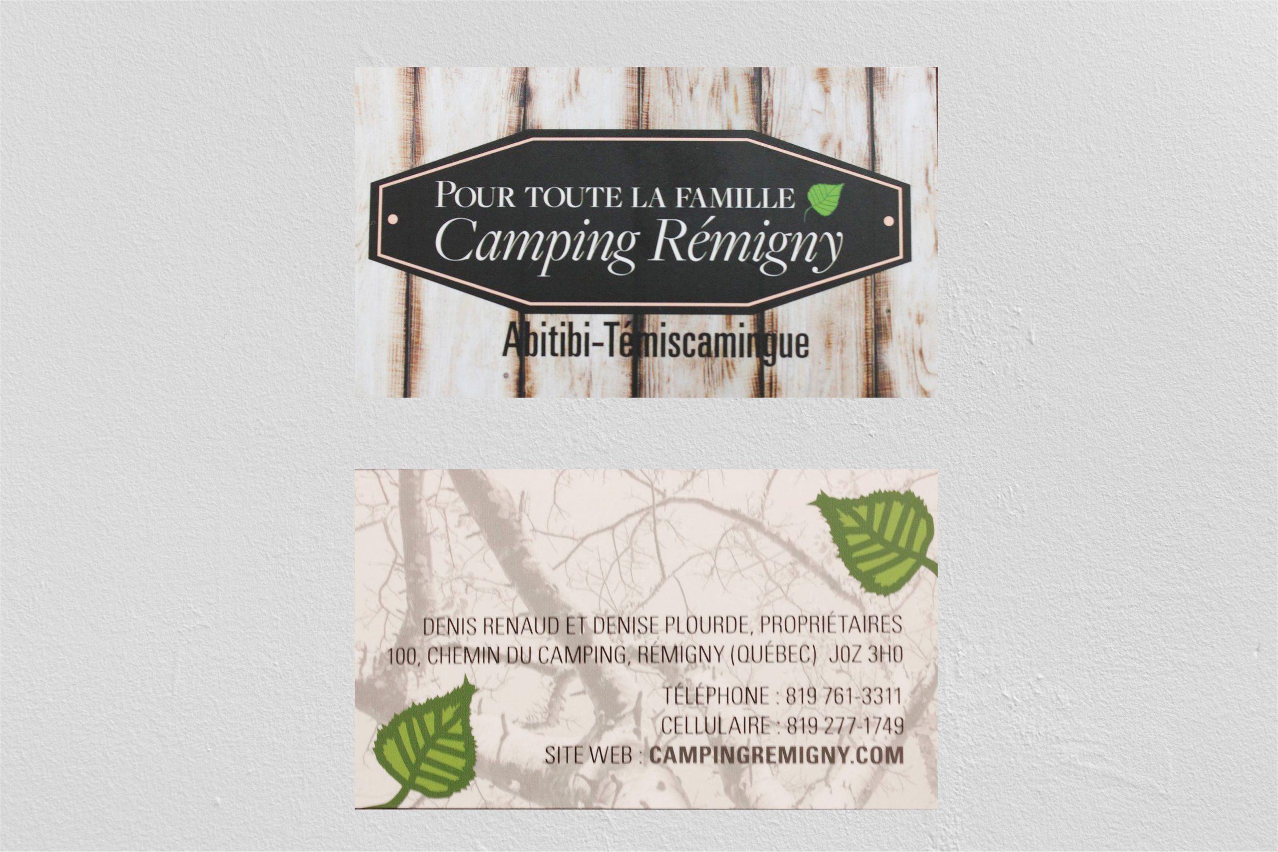 Carte d'affaires du Camping Rémigny