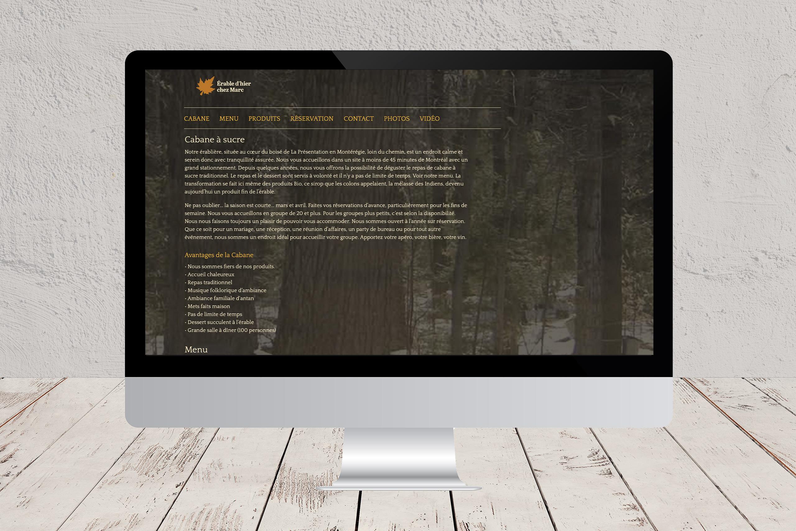 Site Web du site Érable d'hier chez Marc